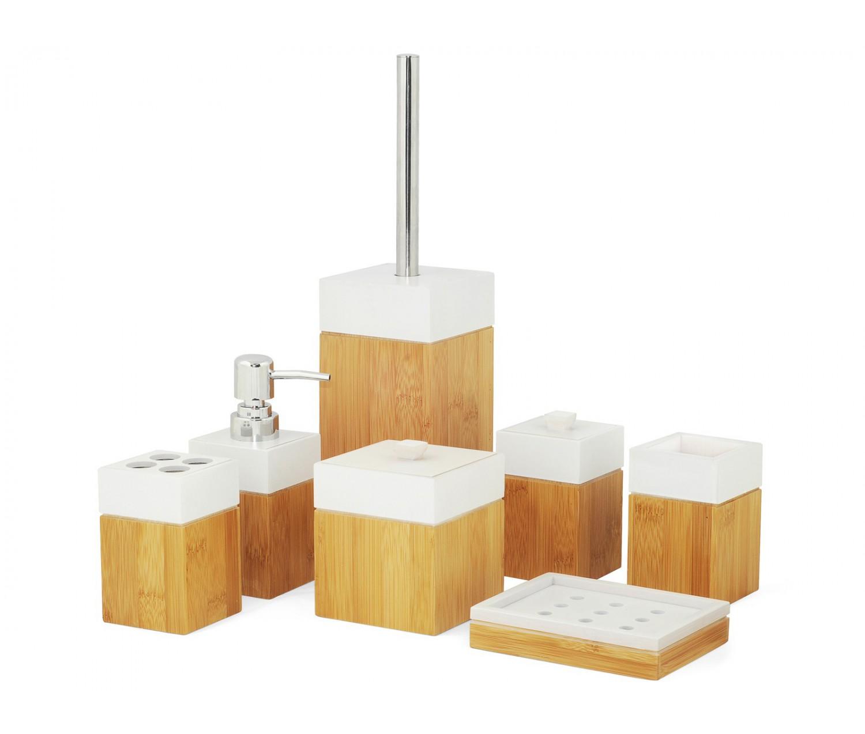 Accessoires salle de bain en bambou mk bamboo paris   réduction